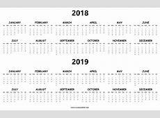 Printable Calendar 2018 To 2019 – 2018 Calendar Template