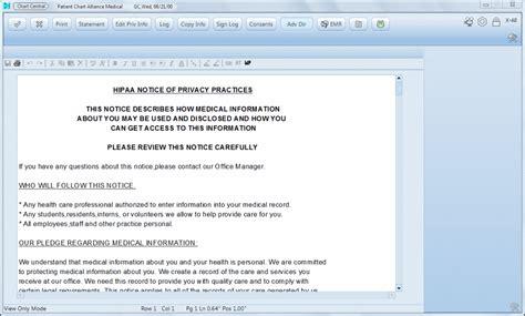 medent hipaa statement screenshot