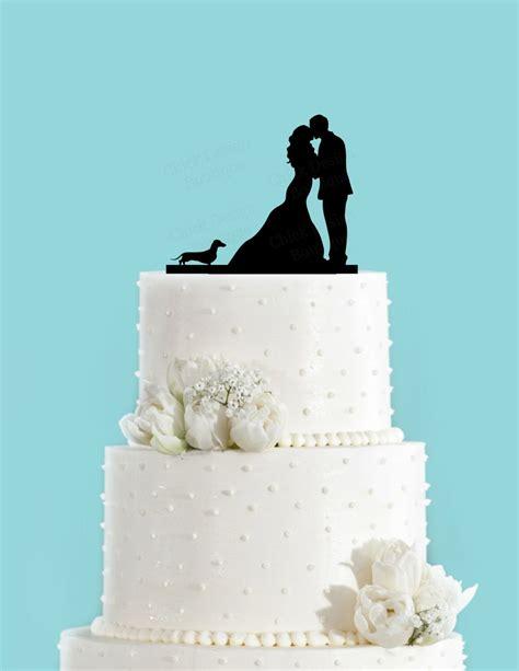 Couple Kissing With Dachshund Dog Acrylic Wedding Cake