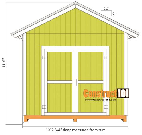 10x10 Shed Plans Materials List by Shed Plans 10x10 Gable Shed Construct101
