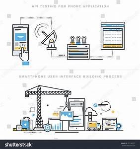 Flat Line Design Vector Illustration Concepts Stock Vector ...