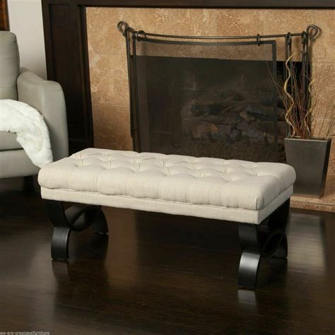 living room furniture beige tufted fabric ottoman bench