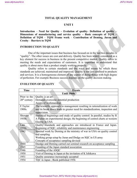 (PDF) Total Quality Management Notes