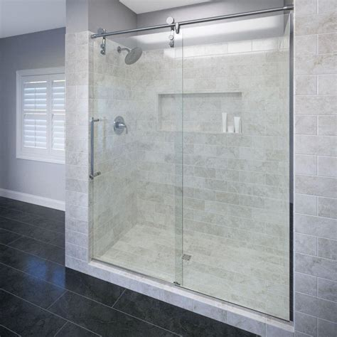 home depot shower doors basco rolaire 59 in x 76 in semi framed sliding shower