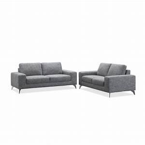 Canapé 180 Cm : canap 2p mendes gris 2 places largeur 180cm mykaz ~ Teatrodelosmanantiales.com Idées de Décoration