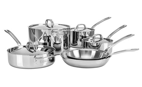 viking  ply stainless steel cookware set  piece
