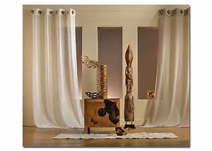 Voilage Lin Blanc : voilage lin et polyester pr t poser mod le kaolin 145x260 finition oeillets carr s ~ Teatrodelosmanantiales.com Idées de Décoration