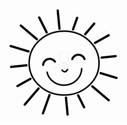 Sun Outline Clipart Sunshine Cartoon Happy Sunglasses
