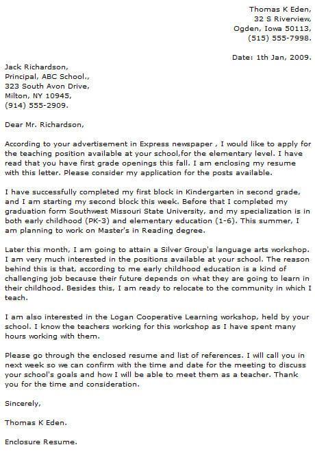 teacher cover letter examples cover letter