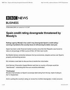 Bbc news spain credit rating downgrade threatened by moody's