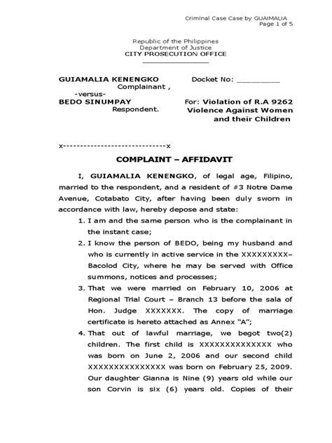 Sample Complaint Affidavit for Violation of RA 9262