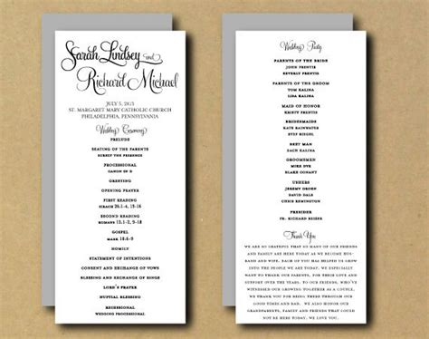 page wedding program template template business