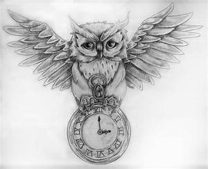 Owl And Pocket Watch Tattoos Sketch | Ink | Pinterest ...