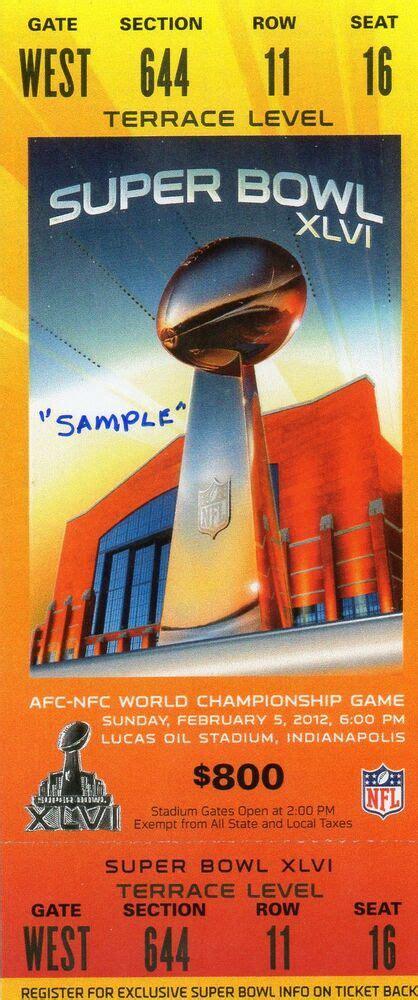 Nfl Super Bowl 46 Replica Full Ticket Ebay