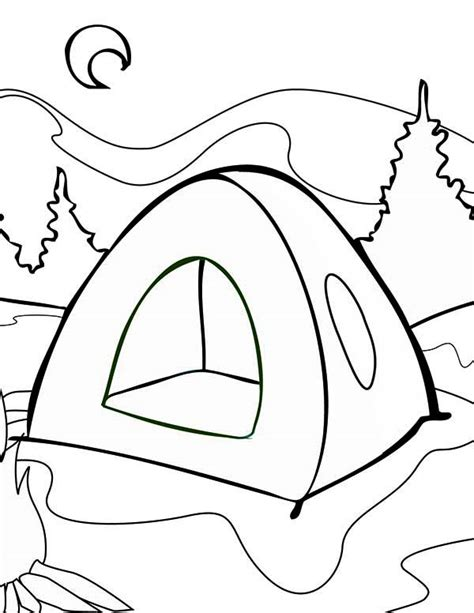 summer tent  summer camp coloring page  print  coloring pages