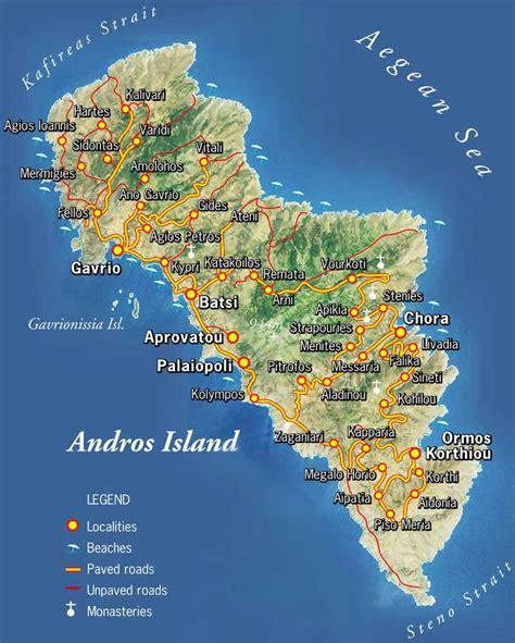 stadtplan von andros insel detaillierte gedruckte karten