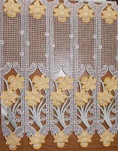 Brise Bise Au Metre : rideau brise bise au metre en macrame motif jonquille ~ Dailycaller-alerts.com Idées de Décoration