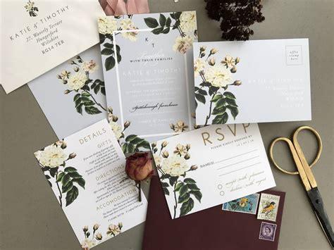 french grey botanical wedding invitation set  sweet pea