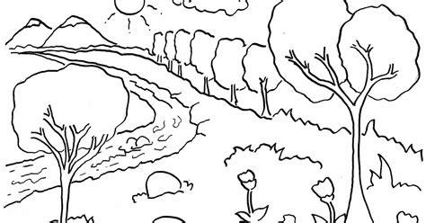 gambar mewarnai pemandangan hutan dan sungai untuk anak tk