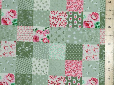 printed patchwork pure cotton fabric green