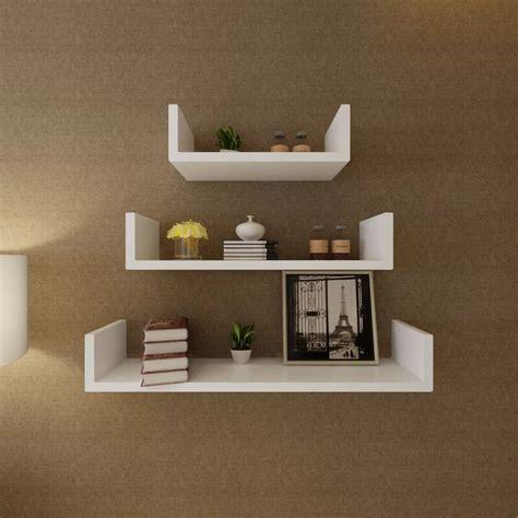 Floating Wall Shelves by Vidaxl Co Uk 3 White Mdf U Shaped Floating Wall Display