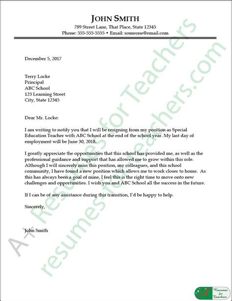 education resignation letter sample elko teacher