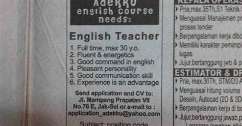contoh vacancy and application letter cv vacancy