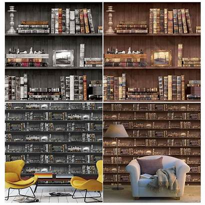 Bookcase Brown Feature Wall Decor West