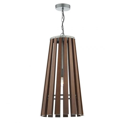 contemporary wooden slatted ceiling pendant light