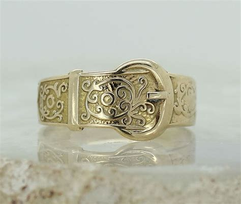 vintage ct yellow gold buckle ring size  ladies