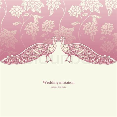 Vintage wedding invitation card Stock vector