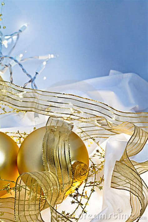 gold  blue christmas baubles background stock