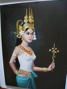Asian Art Paintings: Original oil painting of Apsara dancer
