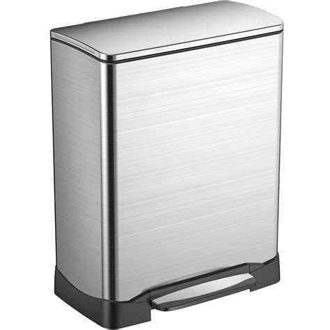 Stainless Steel Rectangular Trash Can In Stainless Steel