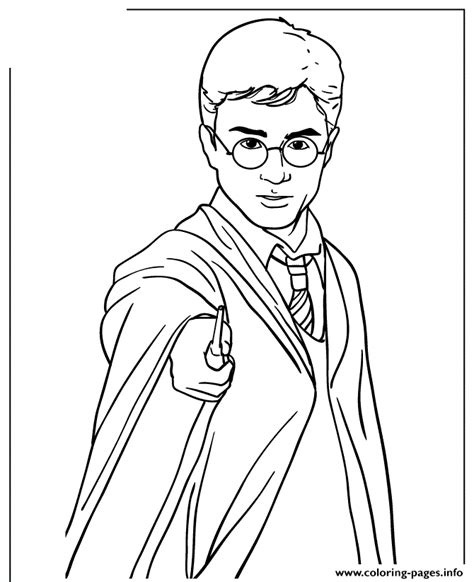 harry potter holding magic wand coloring pages printable