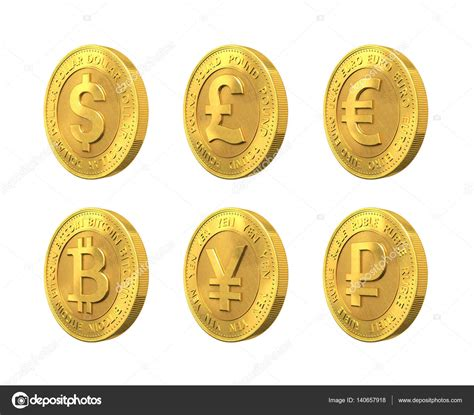 Today's value and price history. Set of golden coin with dollar, euro, pound sterling, ruble, bitcoin and yen signs. 3d rendering ...