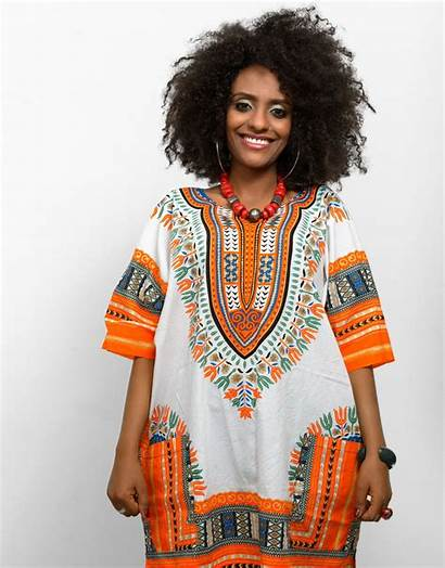 African Traditional Culture Woman Wearing Colorful Kaftan
