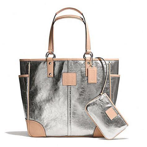 nwt coach silver metallic tote handbag purse shoulder bag handbags tote handbags  purses