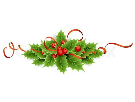 christmas holly stock vector colourbox