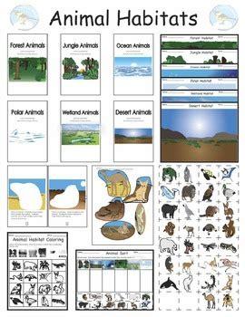 animals   habitats cut  paste booklets sorting mats  coloring