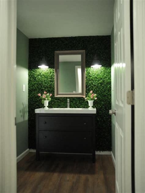 eclectic green bathroom  plant wall hgtv