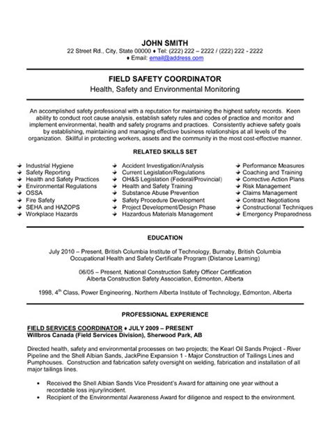 Resume Health And Safety by Field Safety Coordinator Resume Template Premium Resume Sles Exle