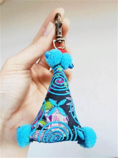 Zip Pillow Keychain Triangle Thailand Tiny Handmade