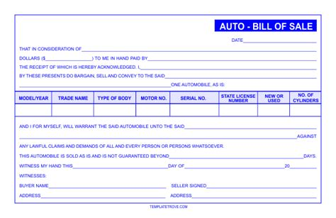 auto bill  sale template