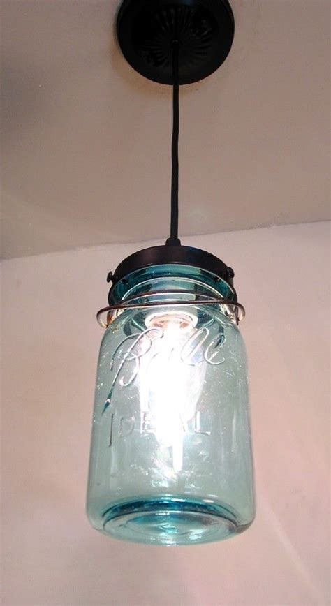 vintage blue canning jar pendant light