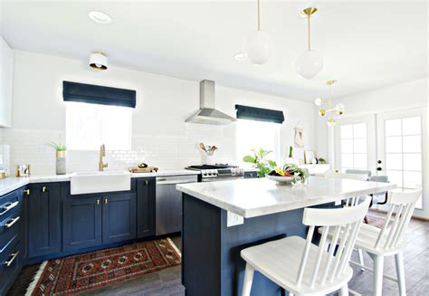 Navy Gold & White Kitchen Reveal   The Vintage Rug Shop