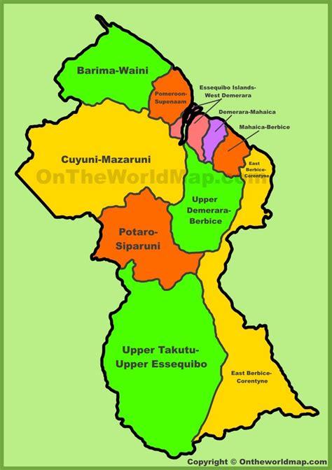 administrative map  guyana