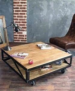 Table Basse Style Industriel : table basse style industriel table style loft table salon ~ Melissatoandfro.com Idées de Décoration