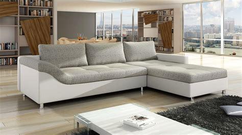 grey fabric corner white faux leather and grey fabric corner sofa homegenies