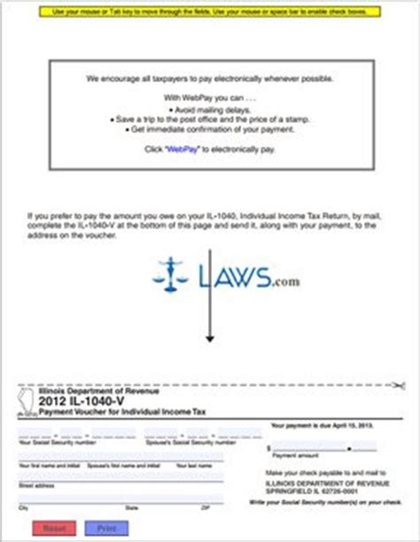 form il 1040 v payment voucher for individual income tax illinois forms laws com